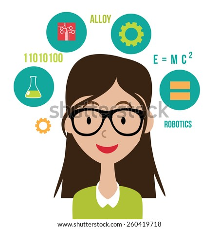Woman with STEM icons flat design. EPS10 vector Royalty free illustration for advertising, promotion, poster, flier, blog, article, social media, marketing, education - stock vector
