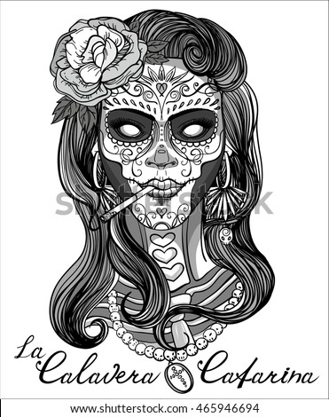 Skull Lady Hat And Roses Coloring Page