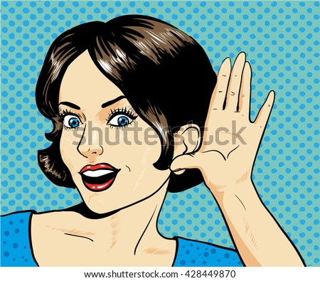Woman with surprised face listening to a whisper. Vector illustration in pop art retro comic style - stock vector