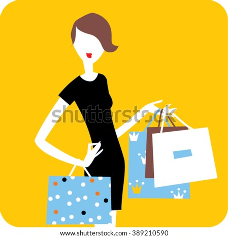 Woman with the shopping bags. Shopping woman. Woman silhouette with bags.