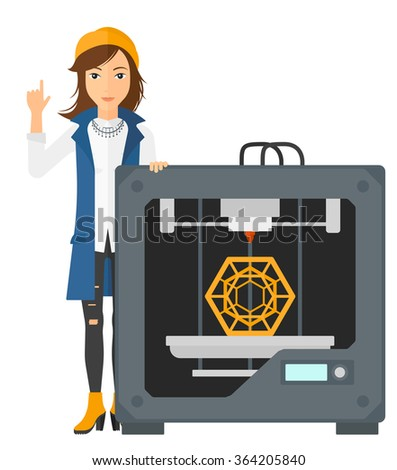 Woman with three D printer. - stock vector