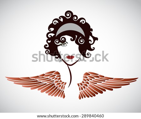 woman with wings  - stock vector