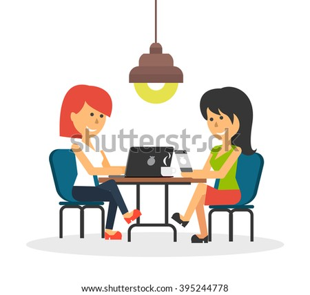 Woman work with laptop and smartphone. Business woman work with smartphone, work with laptop, business phone, work technology mobile, working businesswoman with device illustration - stock vector