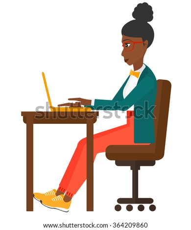 Woman working at laptop. - stock vector
