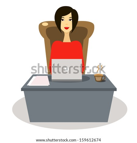 Woman working at laptop in an office - stock vector