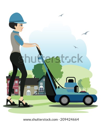 Woman working Mowers with houses in the background.