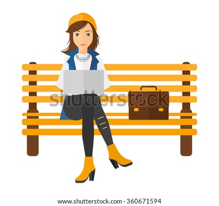 Woman working on laptop. - stock vector