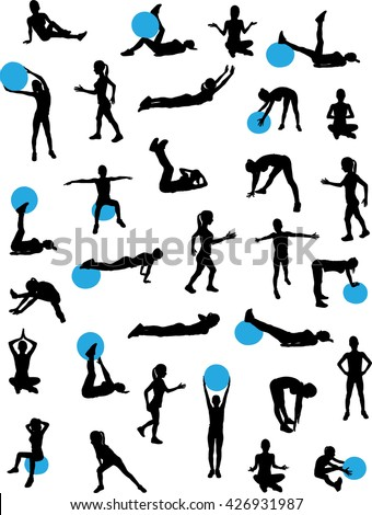 woman workout silhouettes big collection - vector