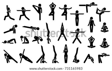 woman yoga postures stick figure pictogram stock vector