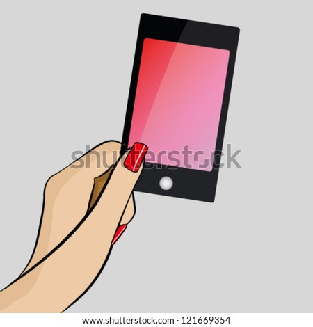 Womans hand holding a modern mobile phone - stock vector