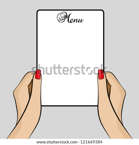 Womans hands holding a menu - stock vector