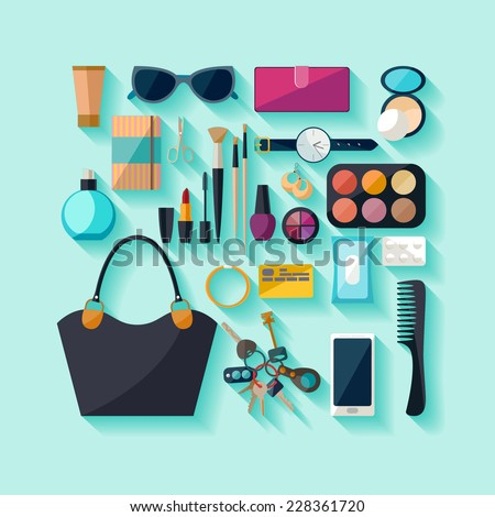 Women accessories. Flat design. - stock vector