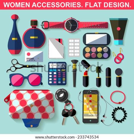 Women accessories. Flat design. - stock vector