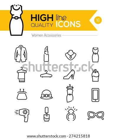 Women Accessories line icons series - stock vector
