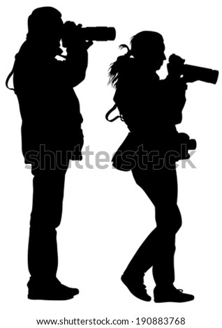 Women and man with a camera on white background