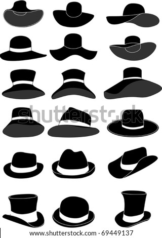 Women and men hat collection - stock vector