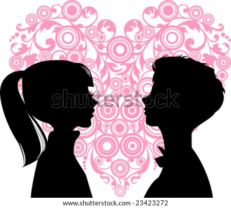 Women and men loving each other and heart between them. Ideal for dating services or valentine day. Vector images scale to any size - stock vector