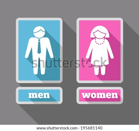 Women And Men Restroom Symbols Colored Icons Set Isolated Vector