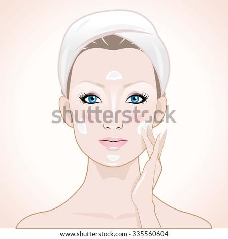 women apply cream - stock vector