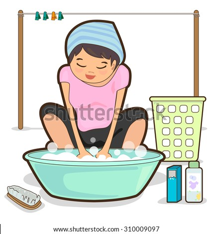 Women are washing by hand and basin.