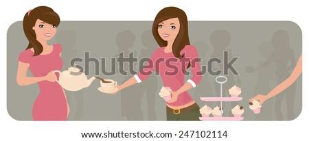 Women at a tea party. - stock vector