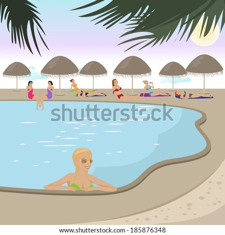 Women At Pool - Vector Illustration, Graphic Design Editable For Your Design  - stock vector