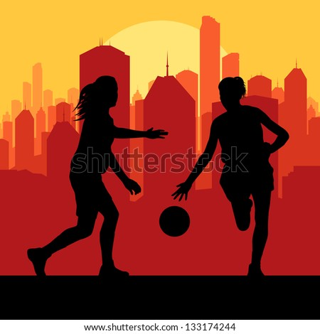 Women basketball in front of city sunset vector background - stock vector