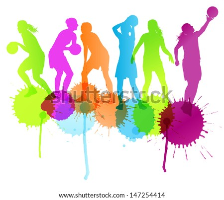 Women basketball players vector abstract background with color splashes - stock vector