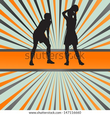 Women basketball players vector abstract burst background - stock vector