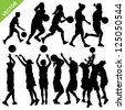 Women basketball silhouettes vector - stock vector