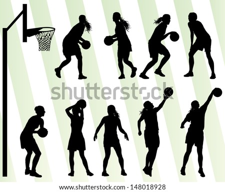 Women basketball vector background silhouette set - stock vector
