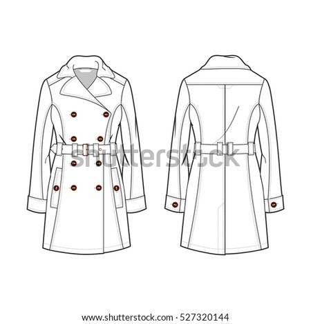 Double Breasted Trench Coat Men Stock Vector 241196275 ...