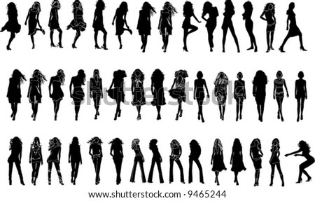Women Collection, a lot of silhouettes- design ellements for decoration - stock vector