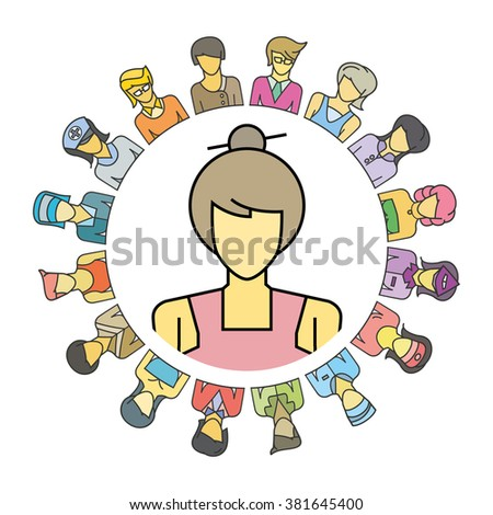 women community, people social community, profession concept - stock vector