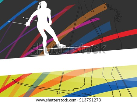 Women cross country skiing silhouettes in abstract line active outdoor sport vector background illustration