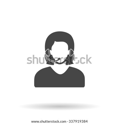 Women customer support. Icon Vector - stock vector