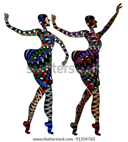 women dancing in a cabaret - stock vector