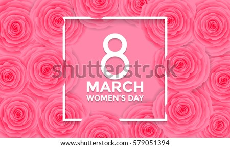 Women Day 8 March text lettering on flowers pattern background for greeting card.