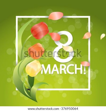 Women day Typographical Background With Spring Tulips Flowers. Vector illustration - stock vector