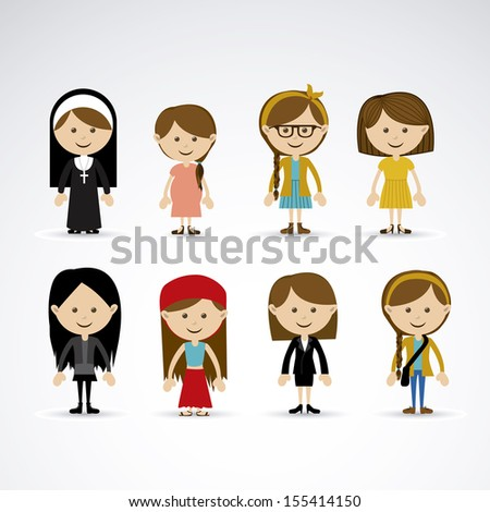 women design over gray background vector illustration - stock vector