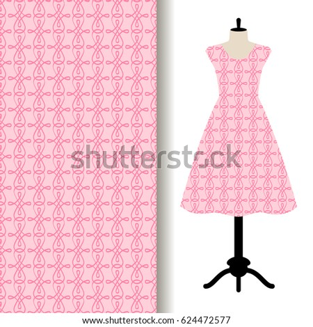 Women dress fabric pattern design on a mannequin with abstract pink pattern. Vector illustration