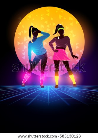 Women dressed up 1980's fashion. Retro dance background design. Vector illustration