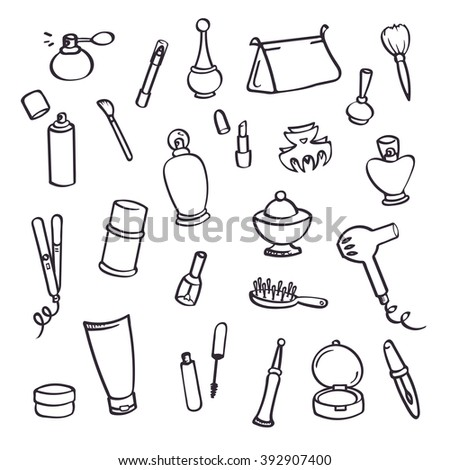 Women essentials, stuff from cosmetic bag. Simple isolated vector elements