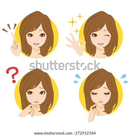 Women face icon - stock vector