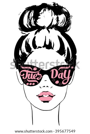 Women Face Sunglasses Tuesday Fashion Girls Stock Vector ...