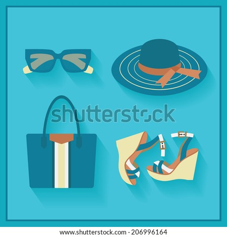 Women fashionable summer accessories - color blue in flat design - stock vector