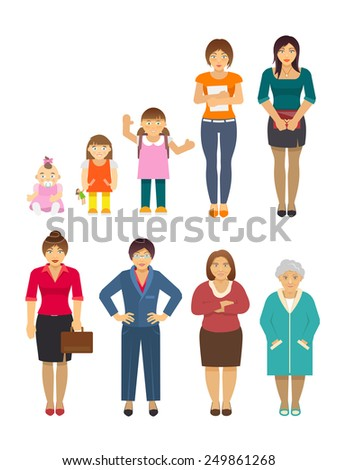 Women generation growing stages flat avatars set isolated vector illustration - stock vector