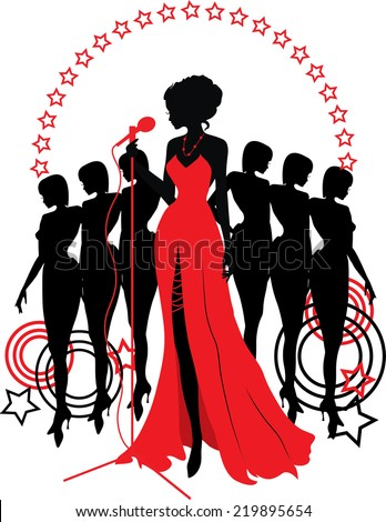 Women group graphic silhouettes. Different person in red - stock vector
