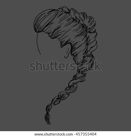 women hairstyle. VEctor hand drawn illustration.