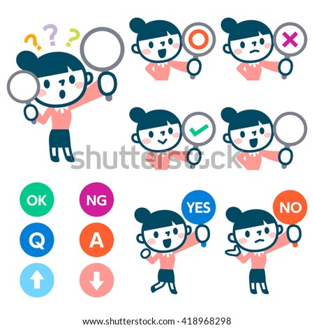 Women have a plate of sign to answer correct or incorrect - stock vector